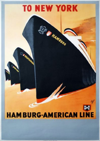 To New York, Hamburg-American Line. Vintage Travel Art Print/Poster. Sizes: A4/A3/A2/A1 (003447)